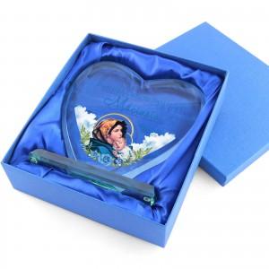 szklana statuetka z nadrukiem na pamiątkę chrztu w niebieskim etui