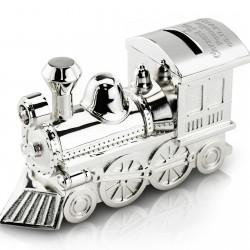 srebrna skarbonka lokomotywa z grawerem