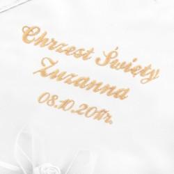 szatka i świeca na chrzest z haftem dowolnego imienia i daty