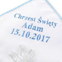 szatka z haftem imienia na chrzest dla chłopca