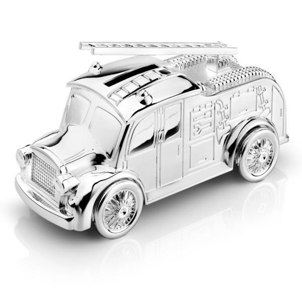 posrebrzana skarbonka wóz strażacki