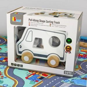 drawniany samochodzik na prezent ciężarówka