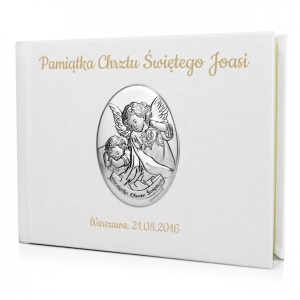 skórzany album z grawerem na chrzest