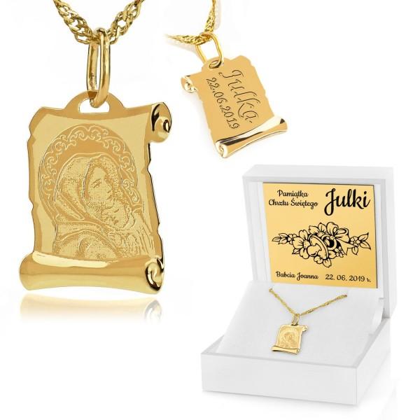 złoty łańcuszek z medalikiem w pudełku z grawerem na prezent na chrzest dla dziewczynki