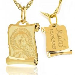 złoty medalik na chrzest z grawerem