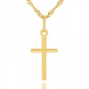 krzyżyk z łańcuszkiem 585 na pamiątkę na chrzest