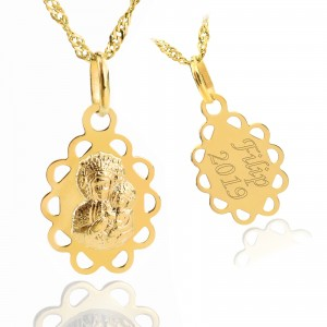 złoty medalik 585 matka boska częstochowska z grawerem