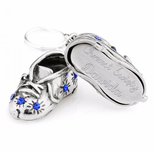 spersonalizowane srebrne buciki na chrzest