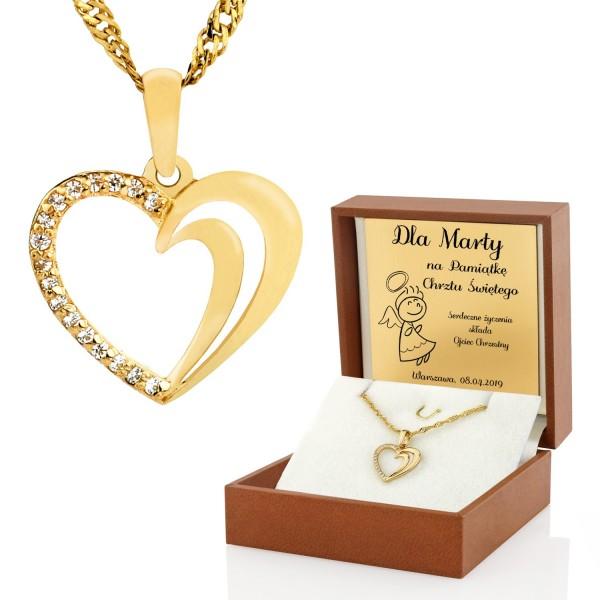 złoty łańcuszek serduszko dla dziewczynki na chrzciny