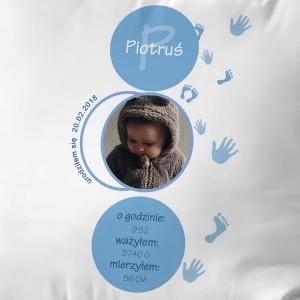 poduszka z imieniem i datą urodzenia na prezent dla dziecka