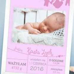 metryczka ze zdjęciem i personalizacją na prezent dla dziewczynki