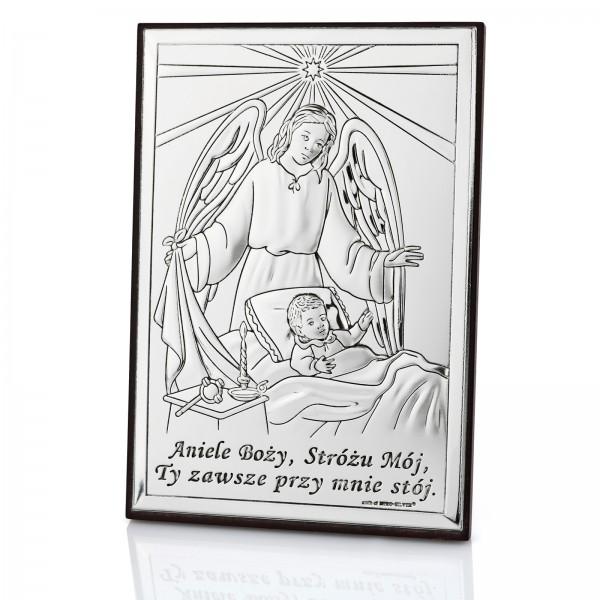 srebrny obrazek z grawerem dedykacji