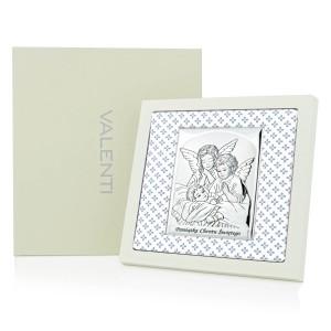 srebrny obrazek na chrzest z personalizacją