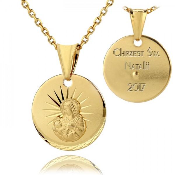 medalik z Matką Boską na prezent na chrzest