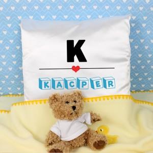 atłasowa poduszka z imieniem dziecka
