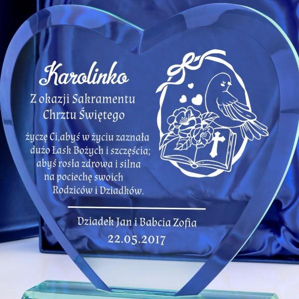 c4c2490c743116 grawer dedykacji na szklanej statuetce na prezent na chrzest. szklane  trofeum ...
