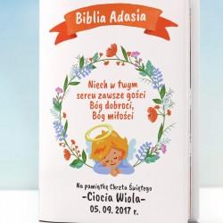 biblia dla dzieci z personalizowaną okładką na chrzest