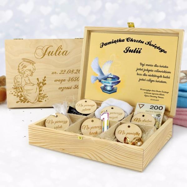 personalizowane pudełko z grawerem na chrzest