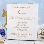 pudełko wspomnień na prezent na chrzest dla chłopczyka