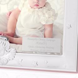 srebrna ramka na zdjęcie na pamiątkę chrztu świętego