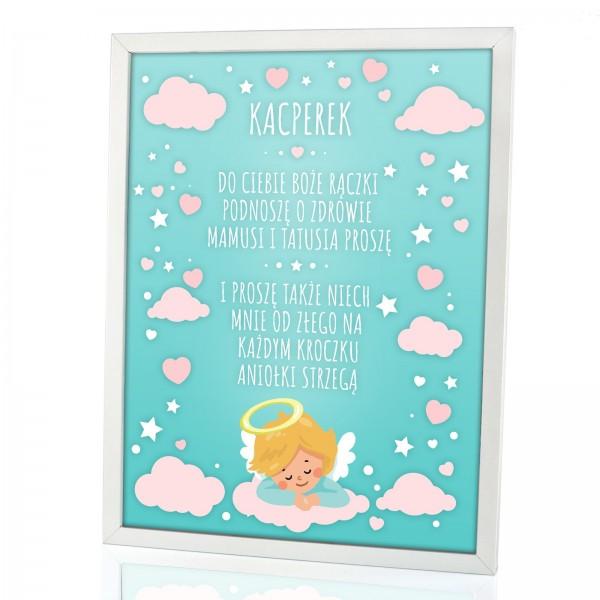 prezent z okazji narodzin dziecka obrazek z modlitwą na i imieniem dziecka