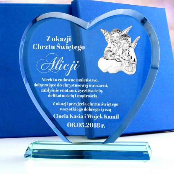 statuetka szklana z obrazkiem i grawerem na prezent z okazji chrztu