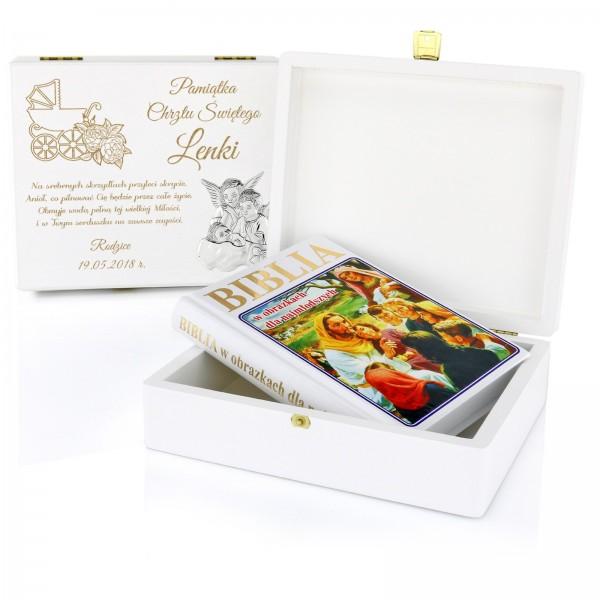 biblia w szkatułce z grawerem na prezent z okazji chrztu