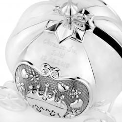 srebrna skarbonka z dedykacją na chrzest karoca