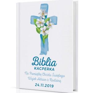 biblia z nadrukiem na prezent na chrzest Niebieska Opoka