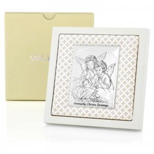 obrazek srebrny anioły na prezent na chrzciny