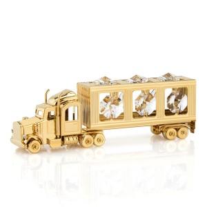 ciężarówka swarovski pozłacana na prezent dla chłopca białe kryształy