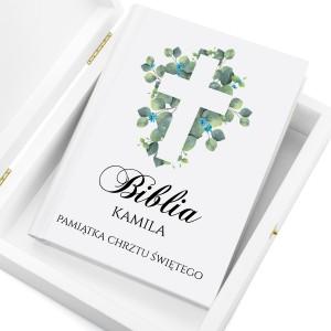 personalizowana biblia na chrzest niebieski krzew