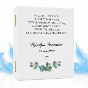 biblia na chrzest w pudełku niebieski krzew