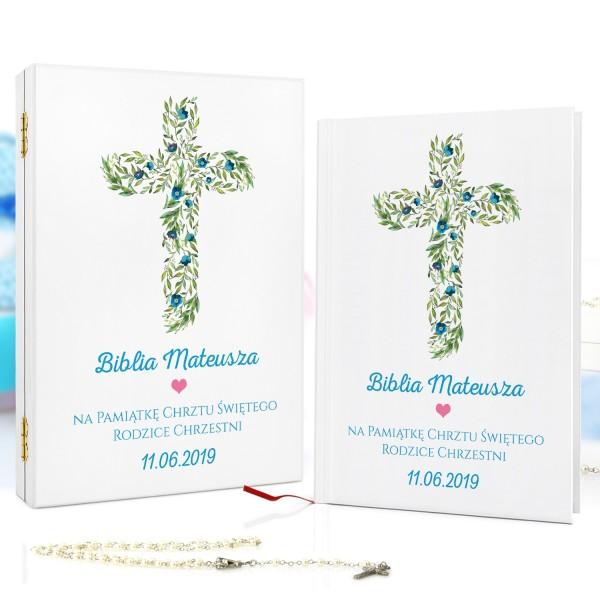 biblia dla dzieci w pudełku na prezent na chrzciny niebieskie kwiaty