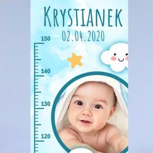 personalizowana nadrukiem imienia i zdjęciem miarka wzrostu na prezent na urodziny dla chłopczyka