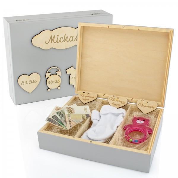 pudełko wspomnień na prezent na chrzest dla chłopca